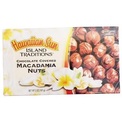 Hawaiian Sun Island Traditions Chocolate Covered Macadamia Nuts 5 oz