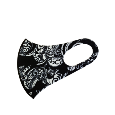Adults Polyester/Spandex Washable Mask -  Black Tribal