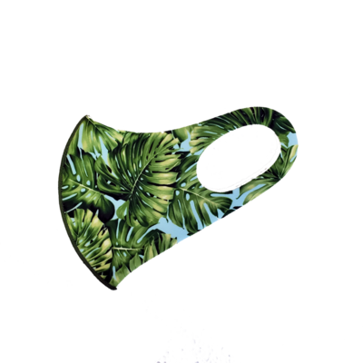 Adults Polyester/Spandex Washable Mask -  Green Monstera