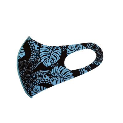 Adults Polyester/Spandex Washable Mask -  Lt Blue Monstera