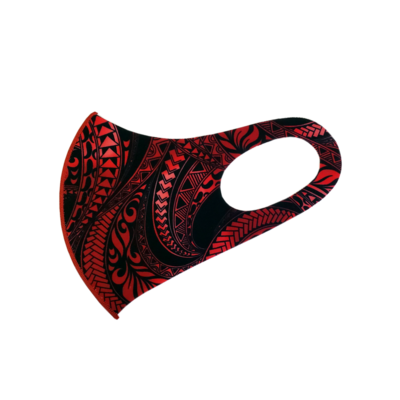 Adults Polyester/Spandex Washable Mask -  Red Tribal