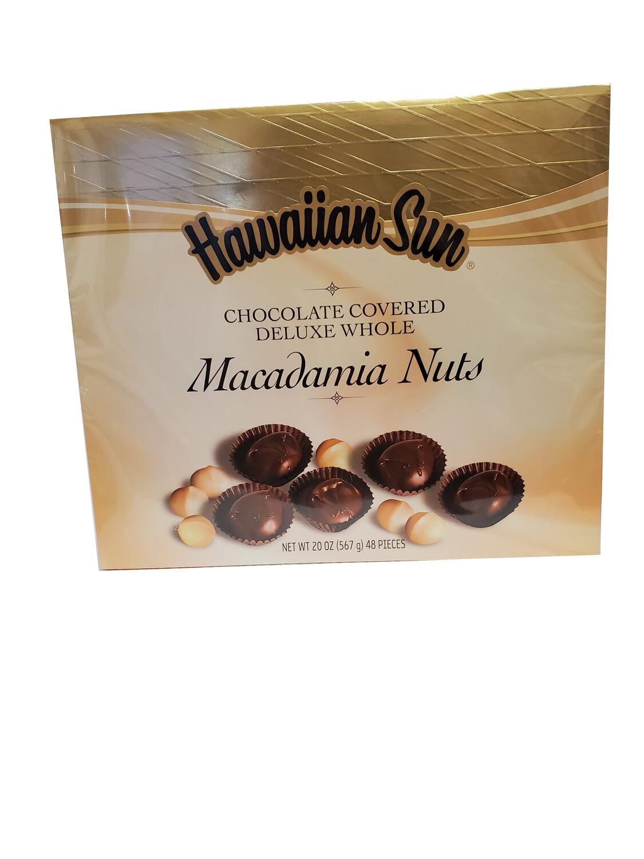 Hawaiian Sun Chocolate Covered Deluxe Whole Macadamia Nuts 20 oz