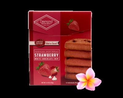 Diamond Bakery Hawaiian Shortbread Cookies - Strawberry White Chocolate Chip  4.4 oz.