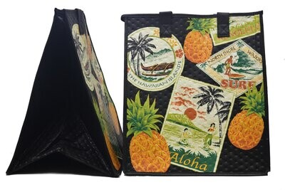 Tropical Paper Garden - Insulated Large Bag - HAWAII POSTAGE BLACK