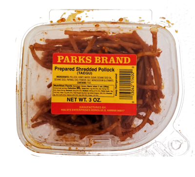 Taegu Shredded Pollock Parks Brand 3 oz