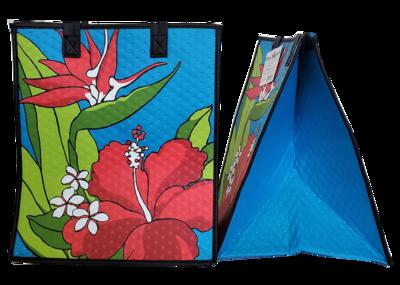 Tropical Paper Garden - Insulated Large Bag - FLORAL VINTAGE BLUE