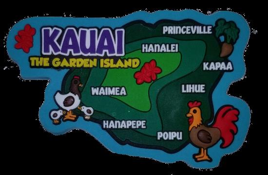 Magnet - Kauai Map Rubber