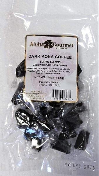Aloha Gourmet Dark Kona Coffee Hard Candy 4 oz
