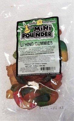 Aloha Gourmet Da Mini Pounder Li Hing Gummies 6.5 oz (NOT FOR SALE TO CALIFORNIA)