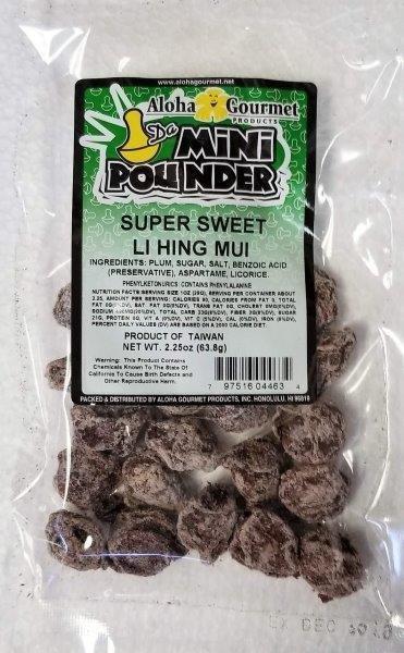 Aloha Gourmet Da Mini Pounder Super Sweet Li Hing Mui 2.25 oz. (NOT FOR SALE TO CALIFORNIA)