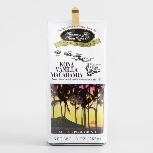 Hawaiian Isles Kona Coffee Vanilla Macadamia Nut Ground Coffee 10 oz