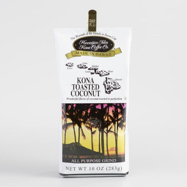 Hawaiian Isles Kona Coffee Toasted Coconut Ground Coffee 10 oz