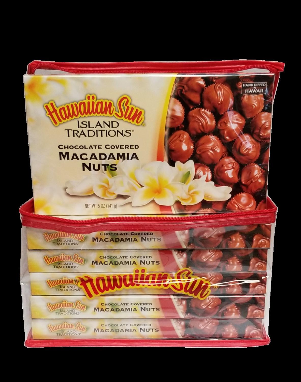 Hawaiian Sun Chocolate Island Traditions Chocolate Covered Macadamia Nuts 6 Pack /5 oz Gift Set