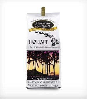 Hawaiian Isles Kona Coffee HazelNut Ground Coffee 10 oz