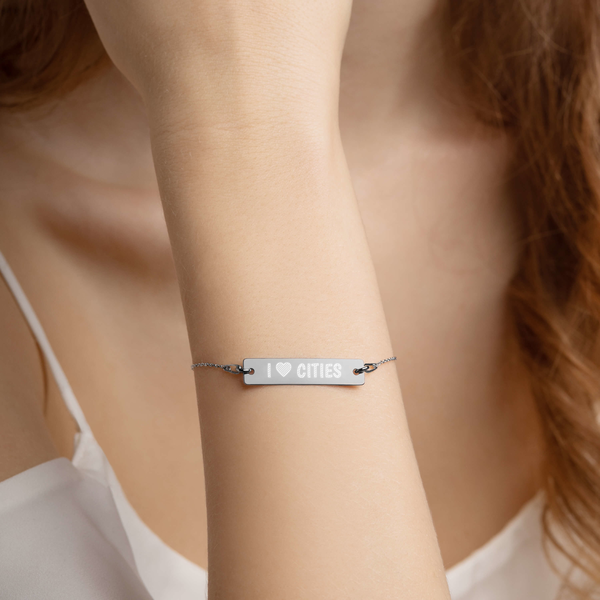 I Love Cities - Engraved Silver Bar Chain Bracelet