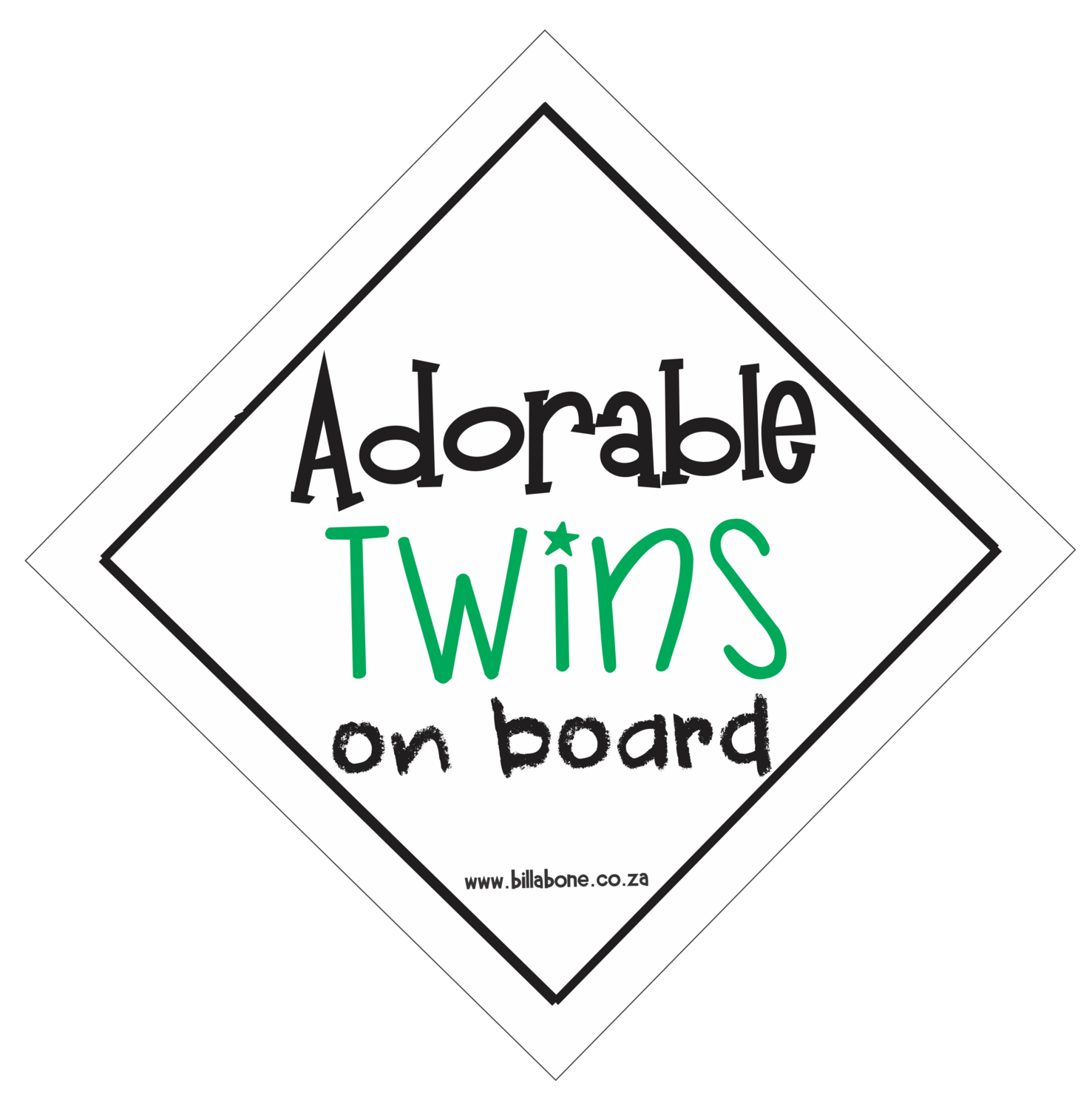 Adorable Twins On Board Car Sign or Sticker