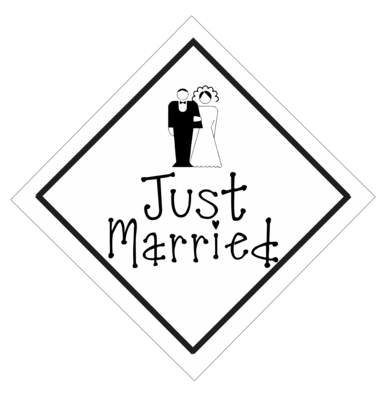 Just Married Car Sign or Sticker