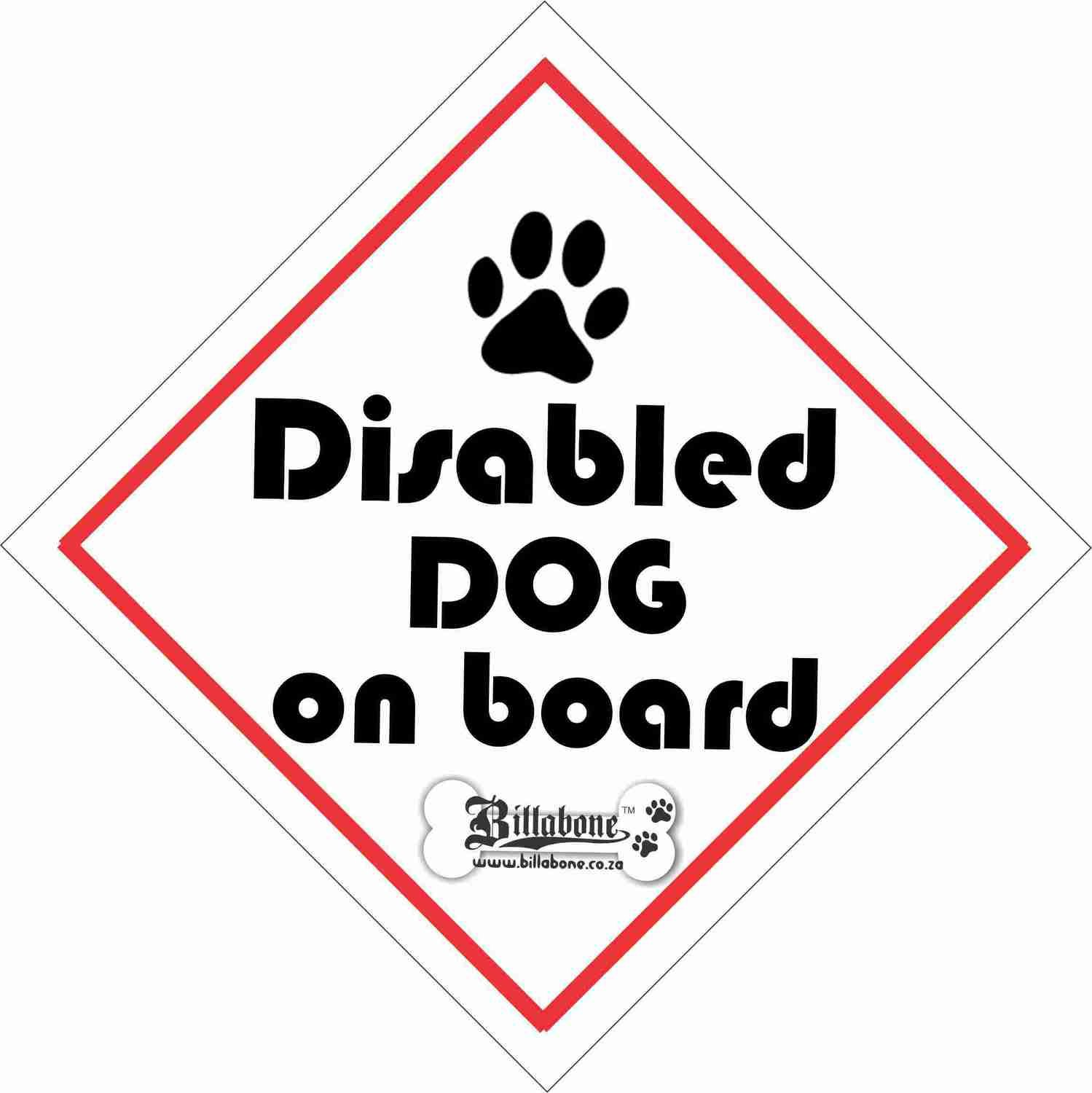 Disabled Dog Car Sign or Sticker