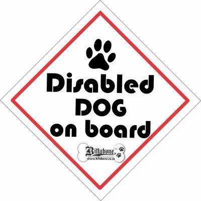 Disabled Dog Car Sign or Sticker