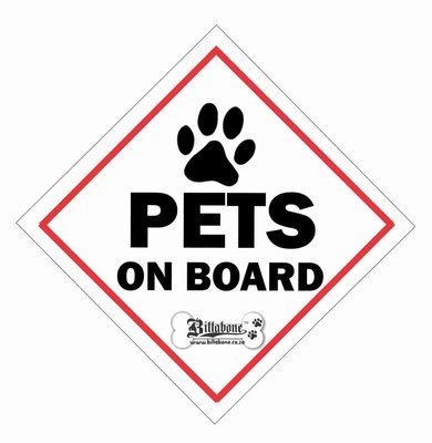 Pets On Board Car Sign or Sticker