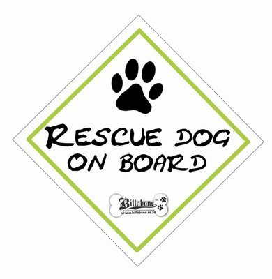 Rescue Dog On Board Car Sign or Sticker