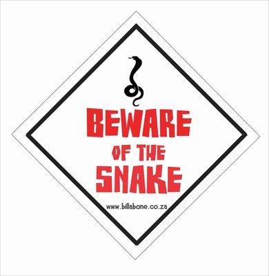 Beware of the snake Car Sign or Sticker