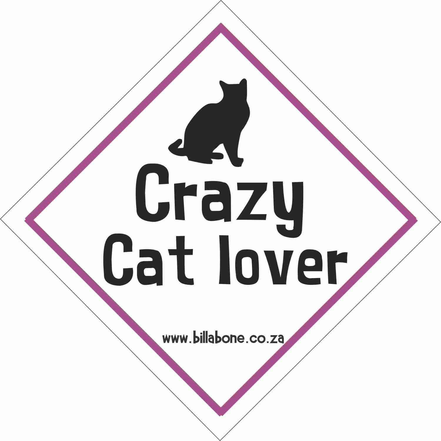 Crazy Cat Lover Car Sign or Sticker