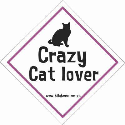 Crazy Cat Lover Car Sign or Sticker