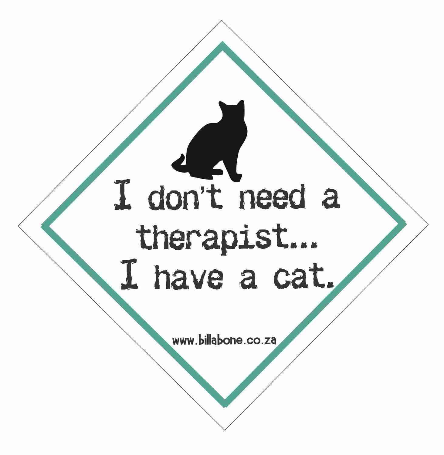 Billabone - I don't need a therapist... I have a cat On Board Sign or Decal