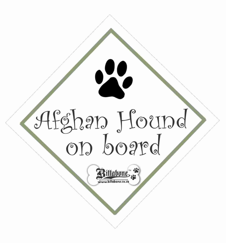 Afghan Hound Car On Board Sign or Sticker