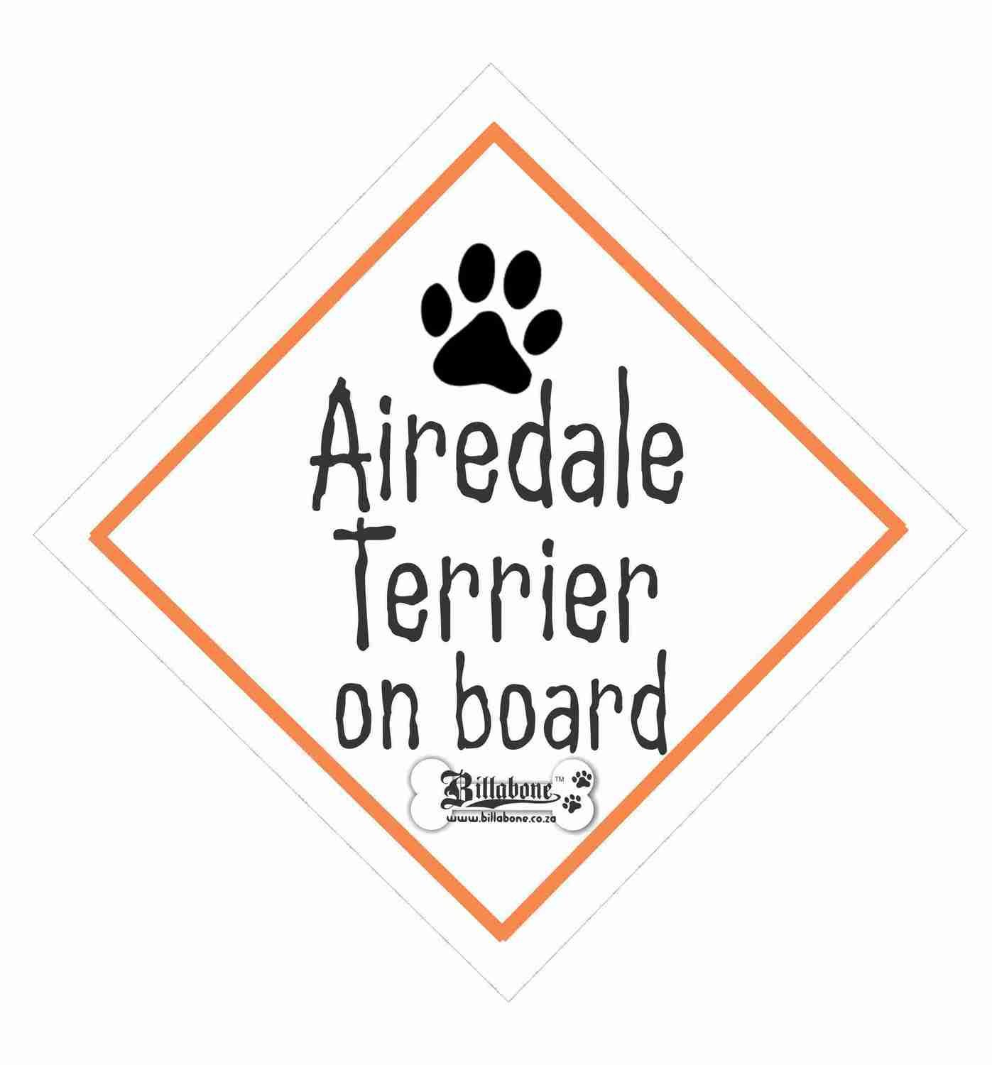 Billabone - Airedale Terrier On Board Sign or Decal