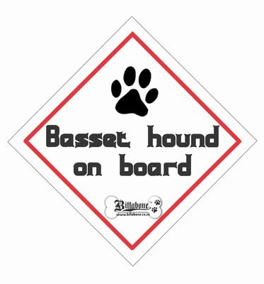 Basset Hound Car On Board Sign or Decal