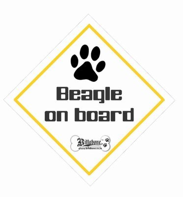 Beagle Car On Board Sign or Sticker