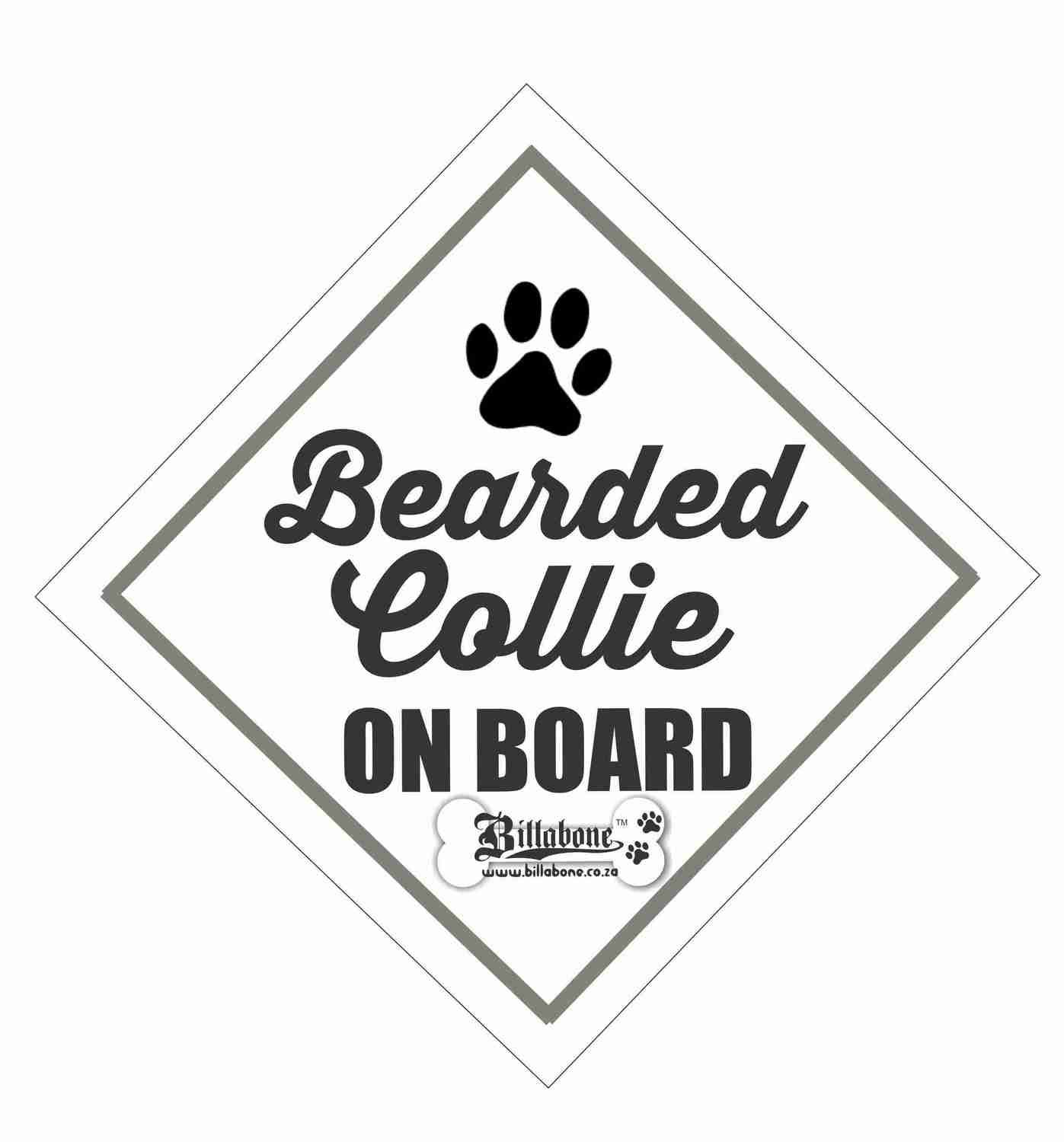 Billabone - Bearded Collie On Board Sign or Decal