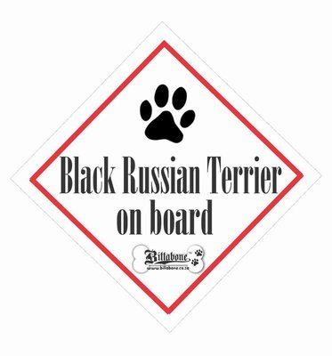 Black Russian Terrier Dog On Board Sign or Sticker