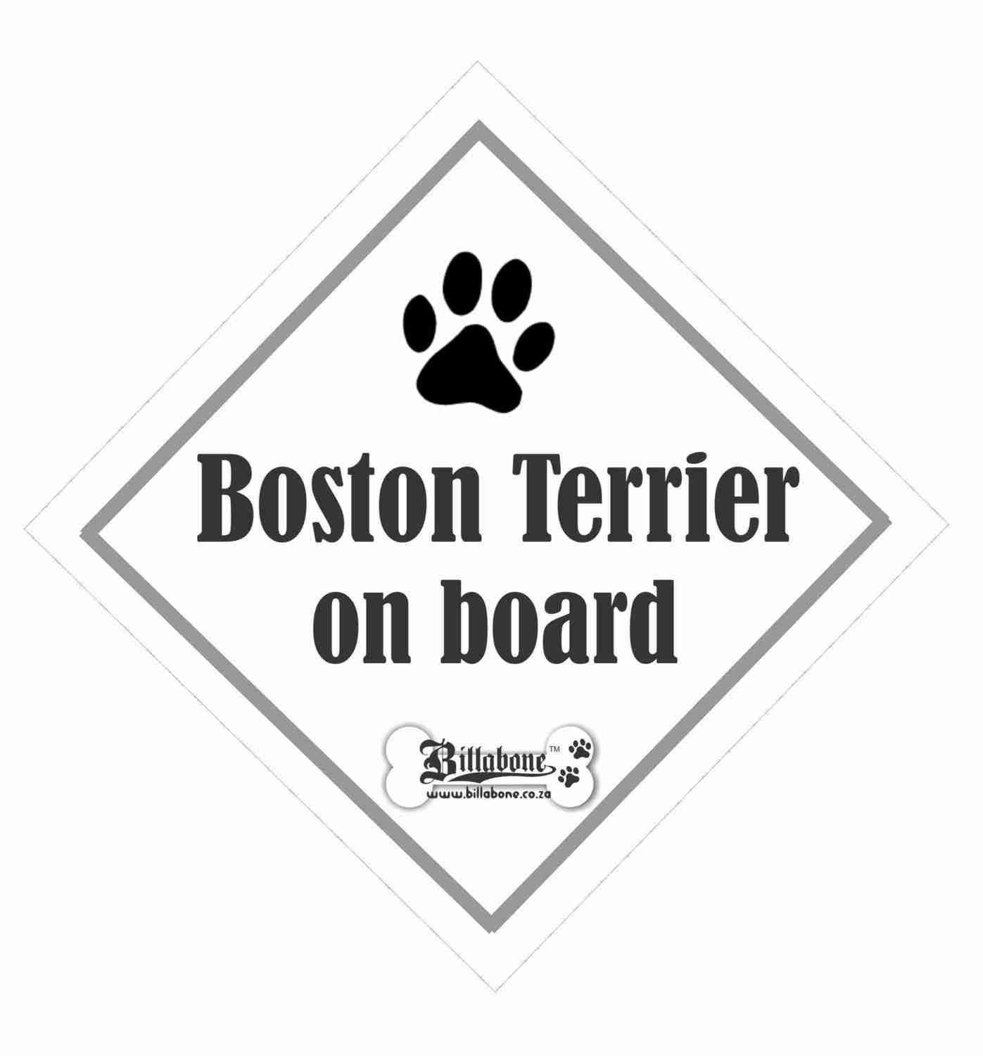 Billabone - Boston Terrier On Board Sign or Decal