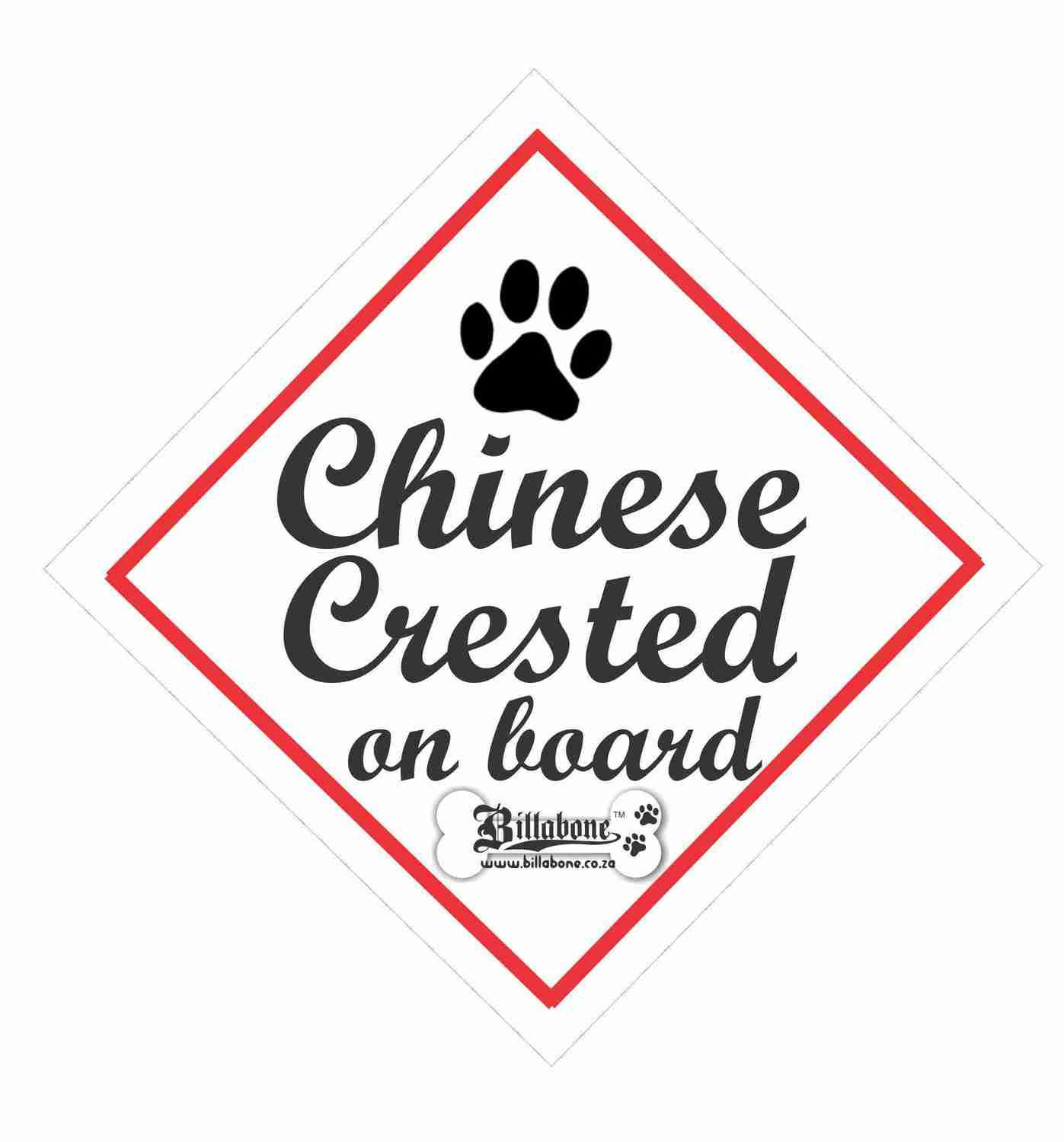 Billabone - Chinese Crested On Board Sign or Decal