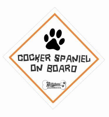 Cocker Spaniel On Board Car Sign or Sticker