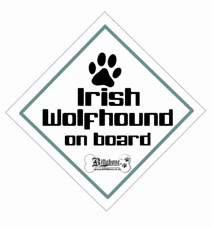Irish Wolfhound On Board Sign or Sticker