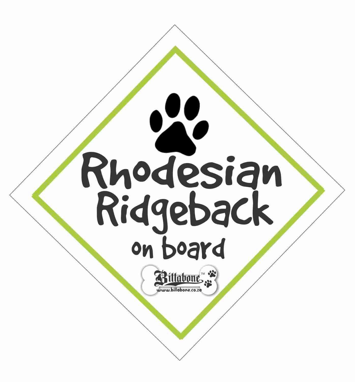 Rhodesian Ridgeback On Board Sign or Sticker