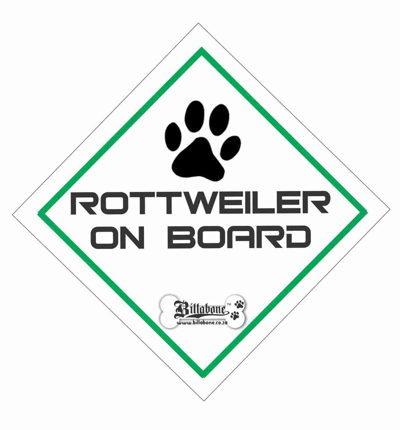 Billabone - Rottweiler On Board Sign or Decal