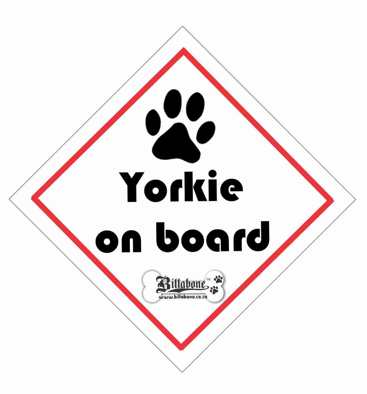 Billabone - Yorkie On Board Sign or Decal