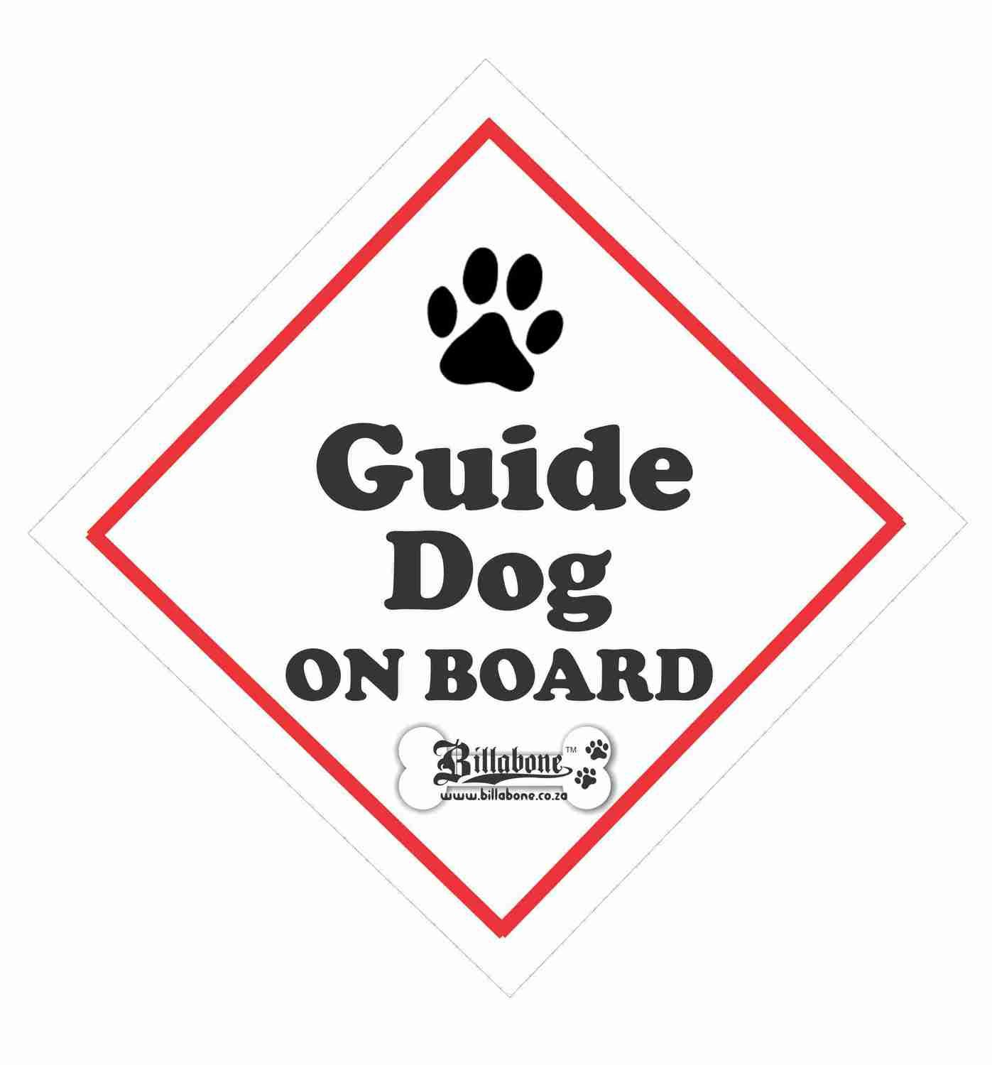 Guide Dog On Board Car Sign or Sticker