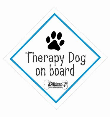 Therapy Dog On Board Car Sign or Sticker