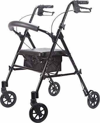 Viverity 4 Wheeled Adjustable Height Rollator-Black