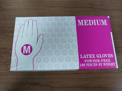 White Latex Gloves, Size Medium, Box of 50 Pair