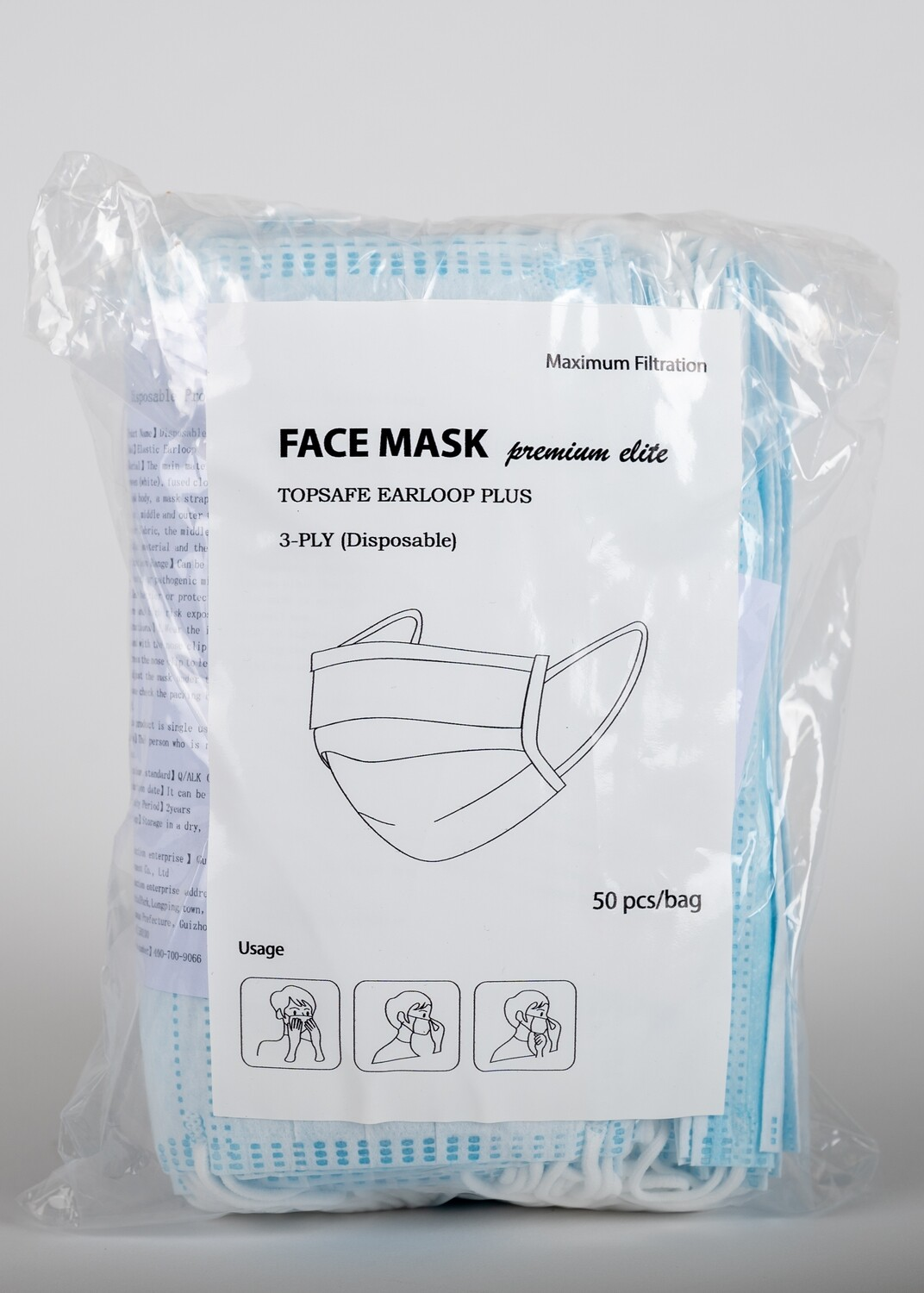 Disposable Ear-Loop 3-Ply Facemasks, 50 piece