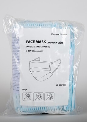 Disposable 3-Ply Facemask, 50 piece