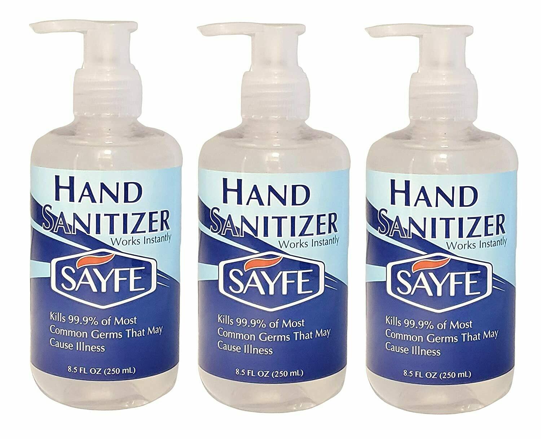SAYFE Hand Sanitizer, Gel, 70% Alcohol v/v, 8.5 FL OZ, Pump Top