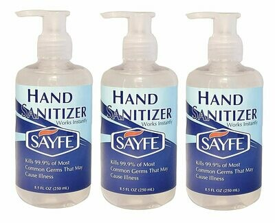SAYFE Hand Sanitizer, Gel, 70% Alcohol v/v, 8.5 FL OZ, Pump Top